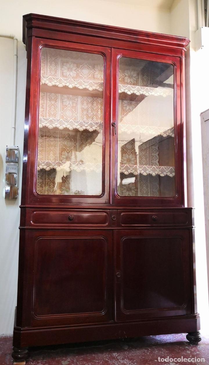 Antigüedades: LIBRERÍA EN MADERA DE CAOBA. ESTILO ISABELINO. ESPAÑA. SIGLO XIX. - Foto 7 - 198025338