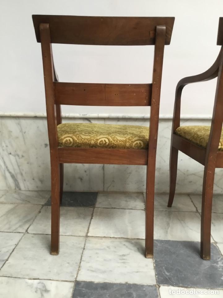 Antigüedades: Pareja de sillas con brazos con adornos de marquetería - Foto 6 - 198036181