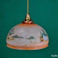 Antigüedades: LÁMPARA DE TECHO OPALINA PINTADA A MANO. Lote 99743251