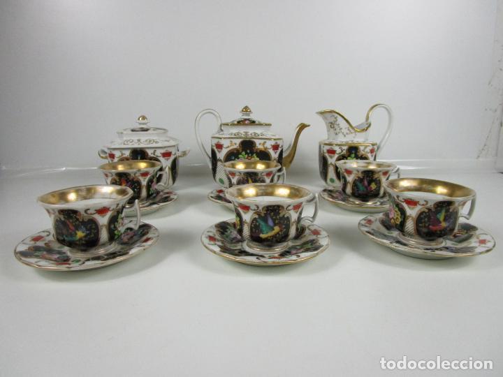 Antigüedades: Precioso Juego de Café Isabelino - Porcelana - Decorada con Pájaros y Flores - S. XIX - Foto 2 - 198077186