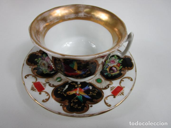 Antigüedades: Precioso Juego de Café Isabelino - Porcelana - Decorada con Pájaros y Flores - S. XIX - Foto 3 - 198077186