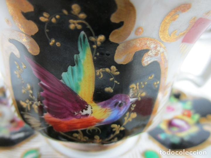Antigüedades: Precioso Juego de Café Isabelino - Porcelana - Decorada con Pájaros y Flores - S. XIX - Foto 4 - 198077186