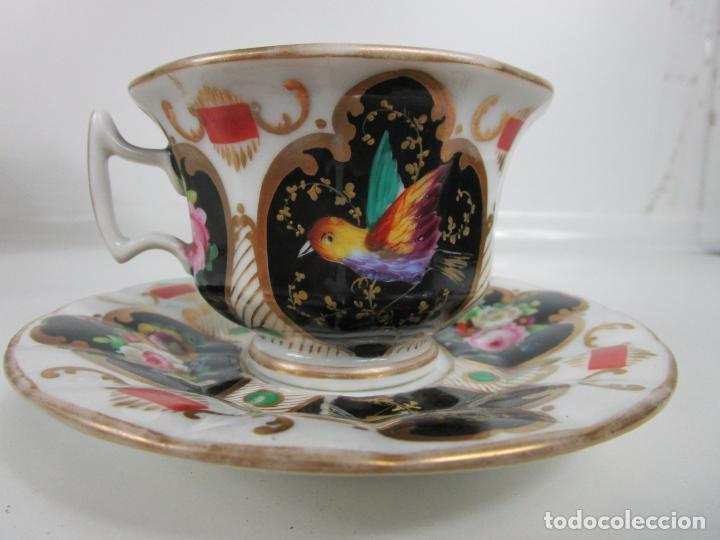 Antigüedades: Precioso Juego de Café Isabelino - Porcelana - Decorada con Pájaros y Flores - S. XIX - Foto 5 - 198077186