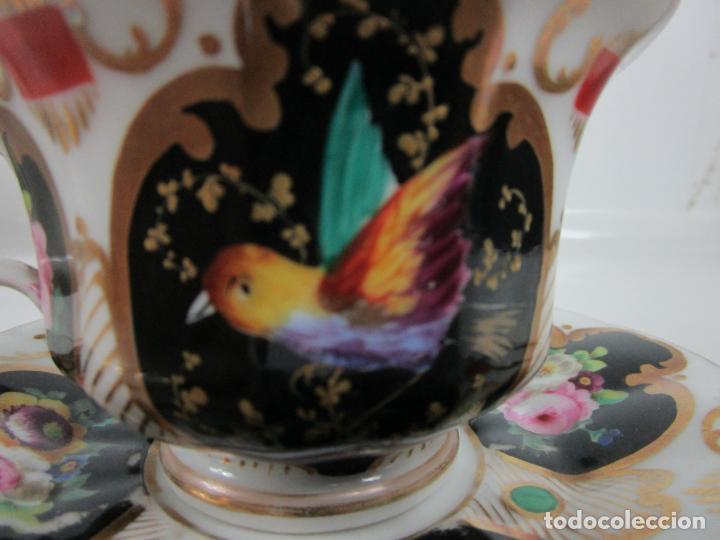 Antigüedades: Precioso Juego de Café Isabelino - Porcelana - Decorada con Pájaros y Flores - S. XIX - Foto 6 - 198077186