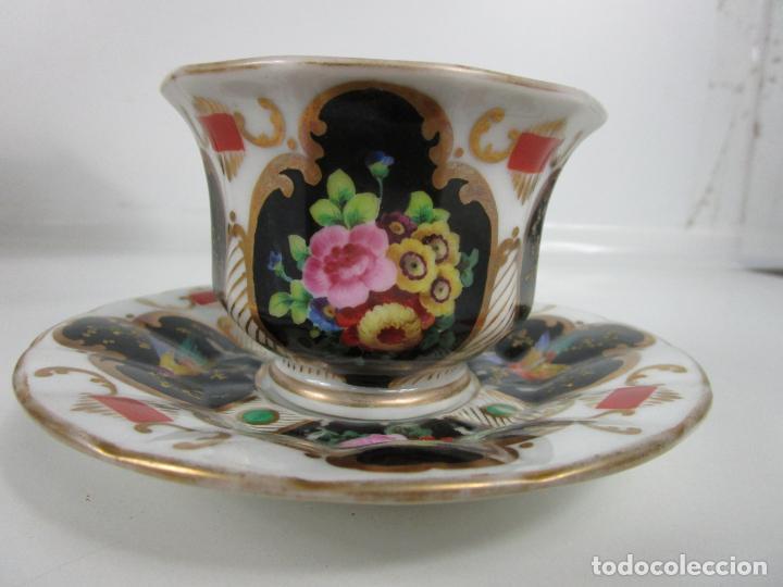 Antigüedades: Precioso Juego de Café Isabelino - Porcelana - Decorada con Pájaros y Flores - S. XIX - Foto 7 - 198077186