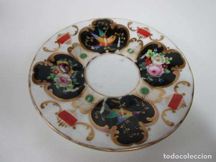Antigüedades: Precioso Juego de Café Isabelino - Porcelana - Decorada con Pájaros y Flores - S. XIX - Foto 10 - 198077186