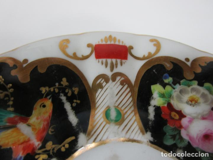 Antigüedades: Precioso Juego de Café Isabelino - Porcelana - Decorada con Pájaros y Flores - S. XIX - Foto 11 - 198077186