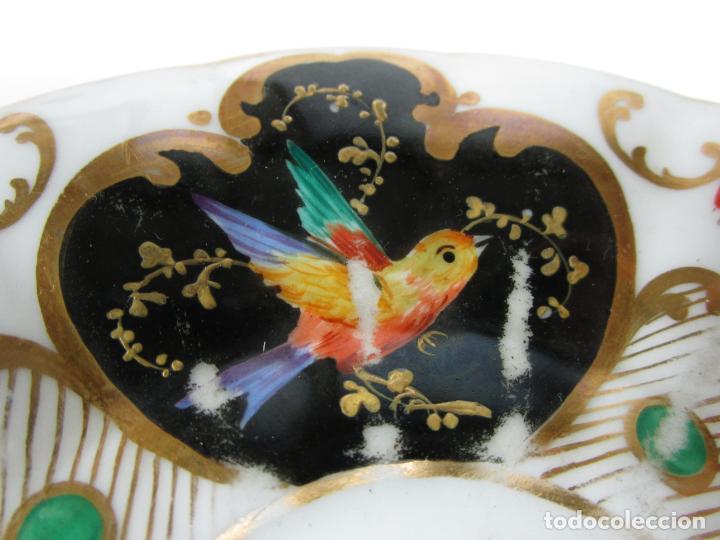 Antigüedades: Precioso Juego de Café Isabelino - Porcelana - Decorada con Pájaros y Flores - S. XIX - Foto 12 - 198077186