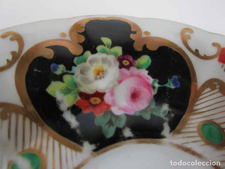 Antigüedades: Precioso Juego de Café Isabelino - Porcelana - Decorada con Pájaros y Flores - S. XIX - Foto 13 - 198077186