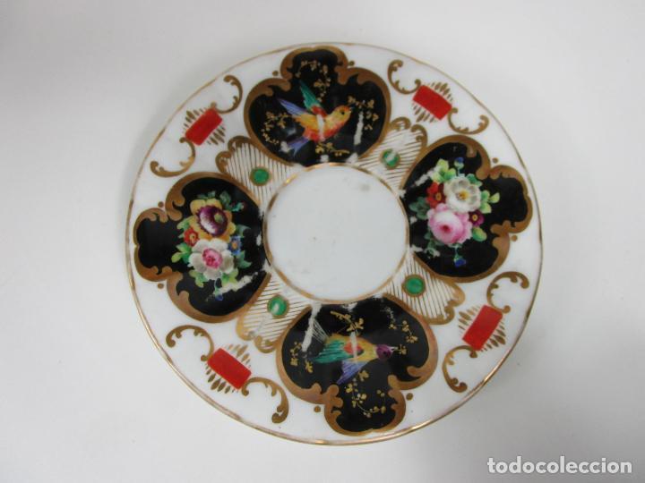 Antigüedades: Precioso Juego de Café Isabelino - Porcelana - Decorada con Pájaros y Flores - S. XIX - Foto 14 - 198077186