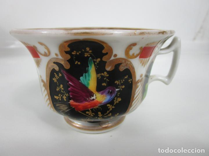 Antigüedades: Precioso Juego de Café Isabelino - Porcelana - Decorada con Pájaros y Flores - S. XIX - Foto 16 - 198077186