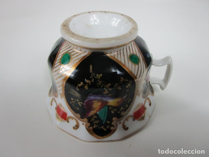 Antigüedades: Precioso Juego de Café Isabelino - Porcelana - Decorada con Pájaros y Flores - S. XIX - Foto 20 - 198077186