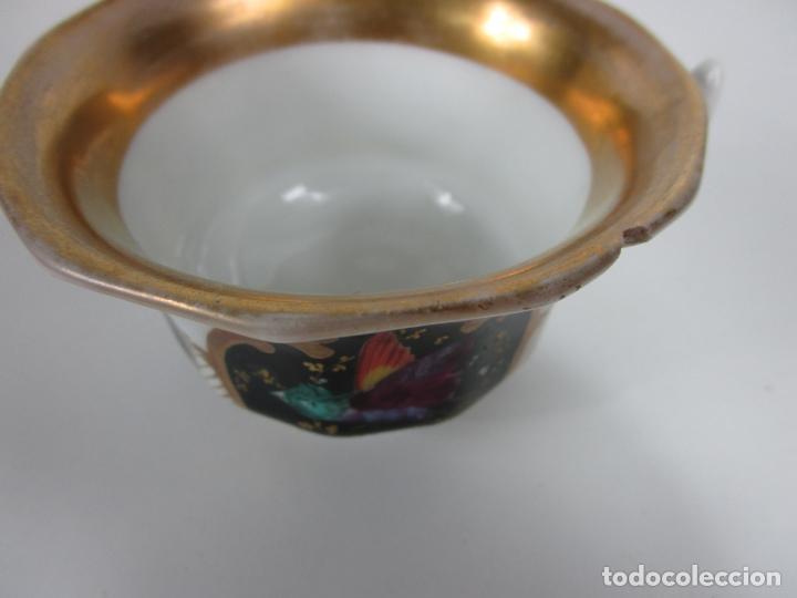 Antigüedades: Precioso Juego de Café Isabelino - Porcelana - Decorada con Pájaros y Flores - S. XIX - Foto 21 - 198077186