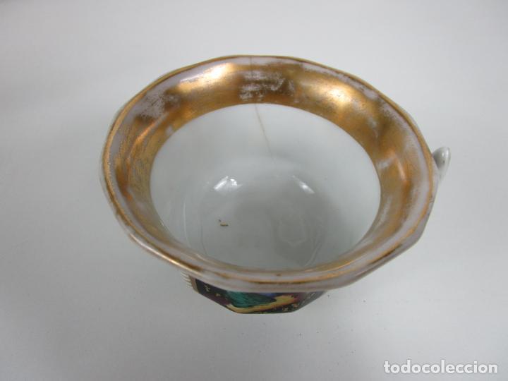 Antigüedades: Precioso Juego de Café Isabelino - Porcelana - Decorada con Pájaros y Flores - S. XIX - Foto 22 - 198077186