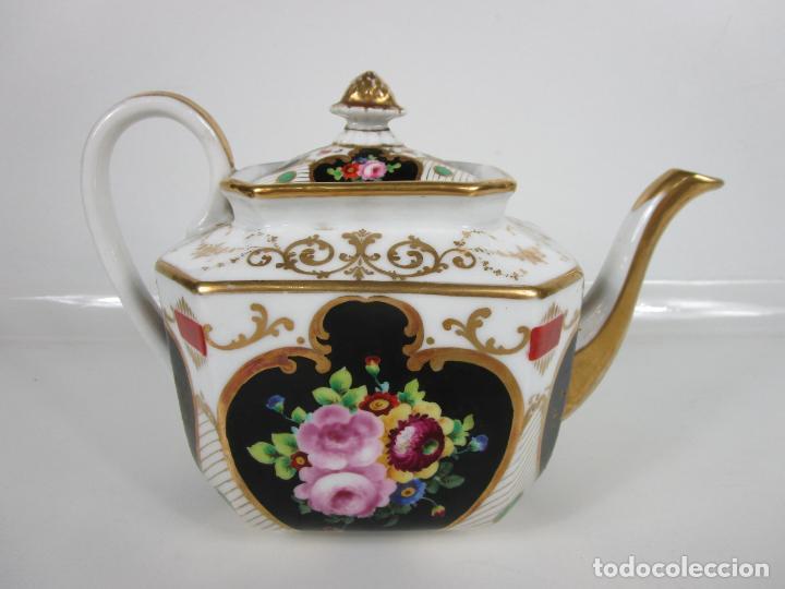 Antigüedades: Precioso Juego de Café Isabelino - Porcelana - Decorada con Pájaros y Flores - S. XIX - Foto 24 - 198077186