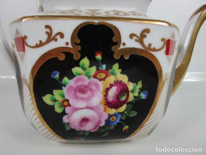 Antigüedades: Precioso Juego de Café Isabelino - Porcelana - Decorada con Pájaros y Flores - S. XIX - Foto 25 - 198077186