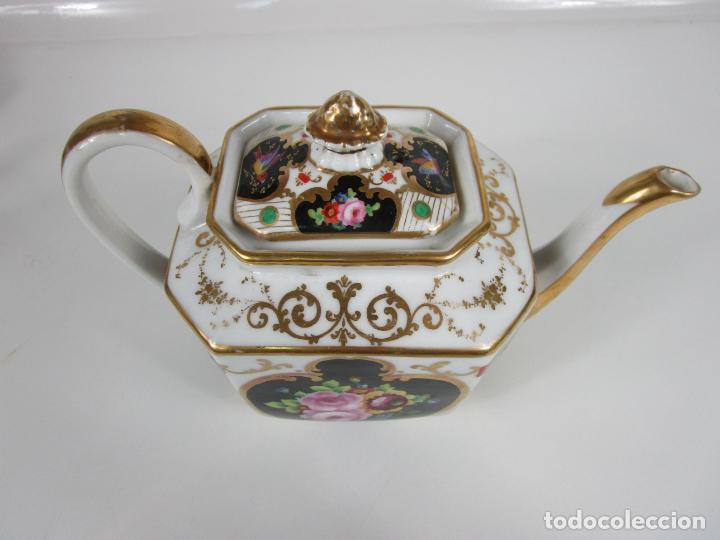 Antigüedades: Precioso Juego de Café Isabelino - Porcelana - Decorada con Pájaros y Flores - S. XIX - Foto 27 - 198077186
