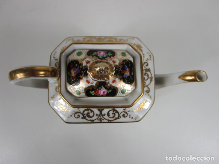 Antigüedades: Precioso Juego de Café Isabelino - Porcelana - Decorada con Pájaros y Flores - S. XIX - Foto 28 - 198077186