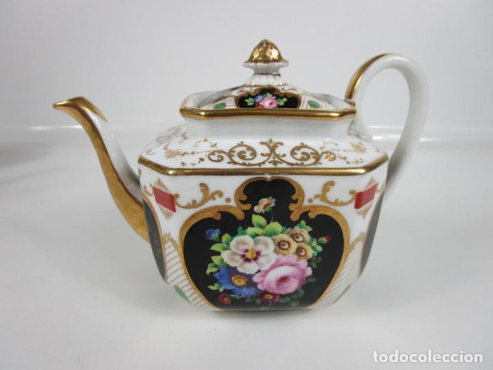 Antigüedades: Precioso Juego de Café Isabelino - Porcelana - Decorada con Pájaros y Flores - S. XIX - Foto 31 - 198077186