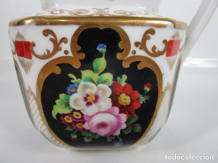 Antigüedades: Precioso Juego de Café Isabelino - Porcelana - Decorada con Pájaros y Flores - S. XIX - Foto 37 - 198077186