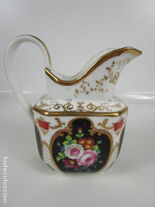 Antigüedades: Precioso Juego de Café Isabelino - Porcelana - Decorada con Pájaros y Flores - S. XIX - Foto 41 - 198077186