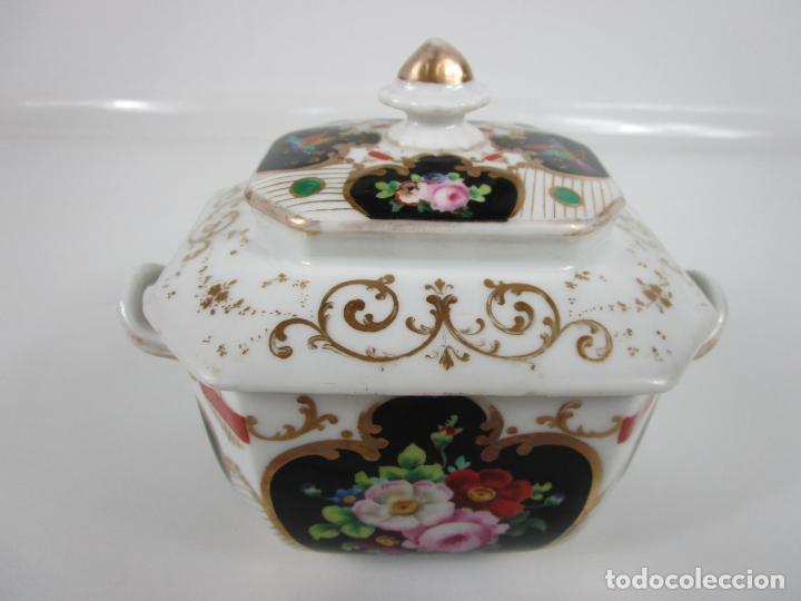 Antigüedades: Precioso Juego de Café Isabelino - Porcelana - Decorada con Pájaros y Flores - S. XIX - Foto 43 - 198077186