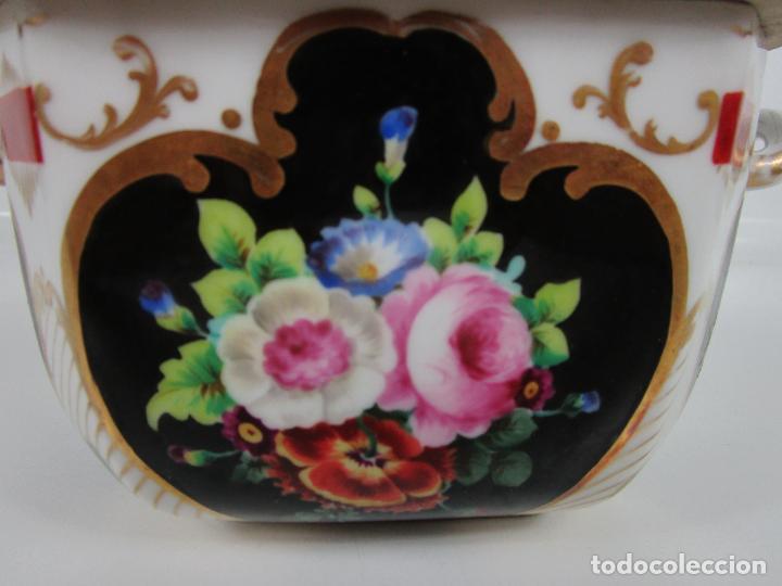 Antigüedades: Precioso Juego de Café Isabelino - Porcelana - Decorada con Pájaros y Flores - S. XIX - Foto 44 - 198077186