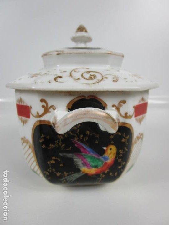 Antigüedades: Precioso Juego de Café Isabelino - Porcelana - Decorada con Pájaros y Flores - S. XIX - Foto 45 - 198077186