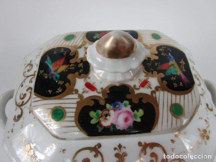 Antigüedades: Precioso Juego de Café Isabelino - Porcelana - Decorada con Pájaros y Flores - S. XIX - Foto 47 - 198077186