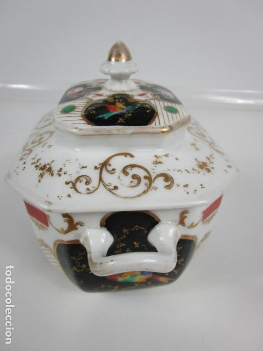 Antigüedades: Precioso Juego de Café Isabelino - Porcelana - Decorada con Pájaros y Flores - S. XIX - Foto 49 - 198077186