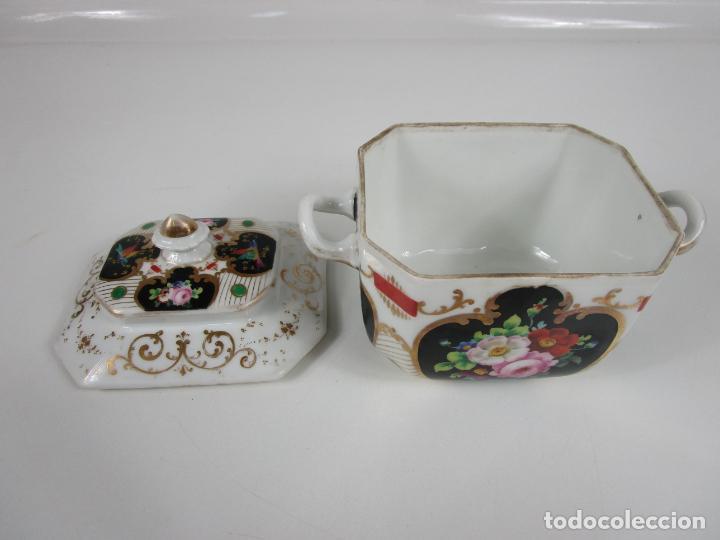 Antigüedades: Precioso Juego de Café Isabelino - Porcelana - Decorada con Pájaros y Flores - S. XIX - Foto 50 - 198077186