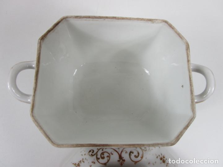 Antigüedades: Precioso Juego de Café Isabelino - Porcelana - Decorada con Pájaros y Flores - S. XIX - Foto 51 - 198077186
