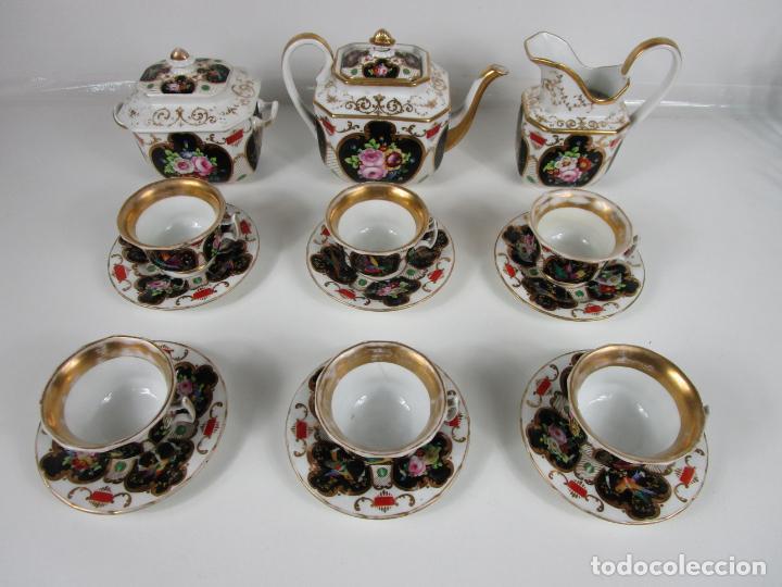Antigüedades: Precioso Juego de Café Isabelino - Porcelana - Decorada con Pájaros y Flores - S. XIX - Foto 55 - 198077186