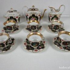 Antigüedades: PRECIOSO JUEGO DE CAFÉ ISABELINO - PORCELANA - DECORADA CON PÁJAROS Y FLORES - S. XIX. Lote 198077186