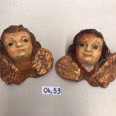 Antigüedades: PAREJA DE ANGELOTES ANTIGUOS DE MADERA POLI CROMADA SIGLO XIX. Lote 198110577