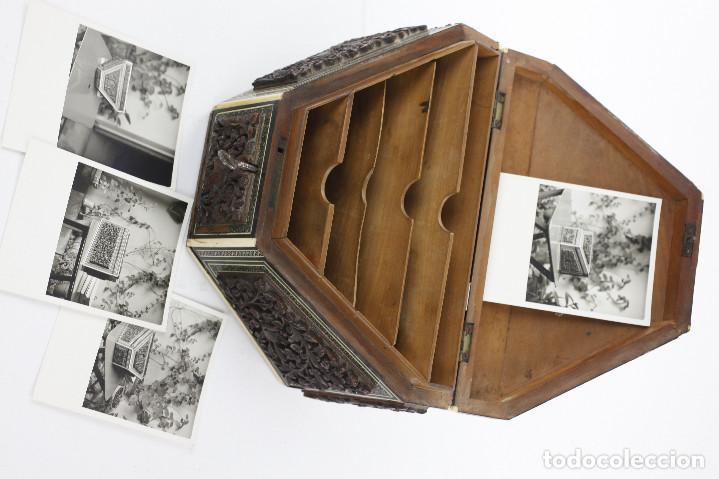 Antigüedades: CAJA TAREJETERO ORIENTAL, TALLADA EN MADERA, 15x24,5x15cm. Ver fotos anexas - Foto 10 - 198135007