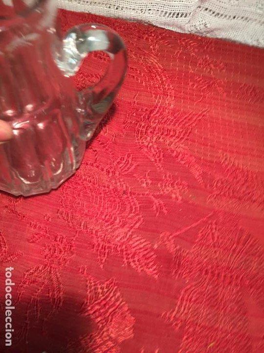 Antigüedades: Antigua jarra de cristal soplado a mano con dibujo años 40-50 - Foto 6 - 198139025
