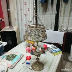 Antiquités: MUY RARA LAMPARA O VELON DE BRONCE CON PRECIOSOS ADORNOS MIREN FOTOS. Lote 198164493