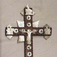 Antigüedades: CRUZ DE JERUSALEM 14 ESTACIONES VIA CRUCIS, NACAR Y MADERA CON MARQUETERIA, PARA COMPLETAR RECAMBIO. Lote 198171585