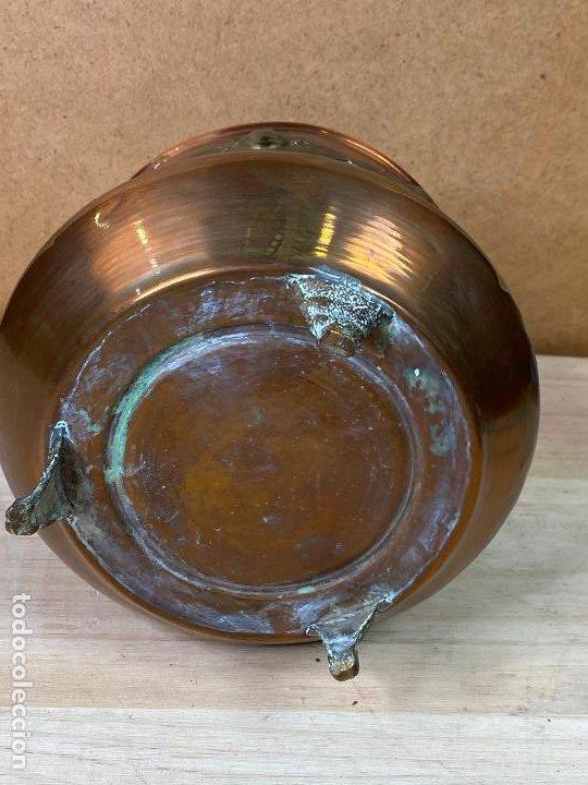 Antigüedades: Olla de cobre o laton decorada con incrustaciones metalica estilo oriental - 16 cm de diametro - Foto 6 - 198205425