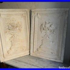 Antigüedades: DECORATIVAS TABLAS DE ESTUCO CON MOTIVOS IMPERIO. Lote 198288385