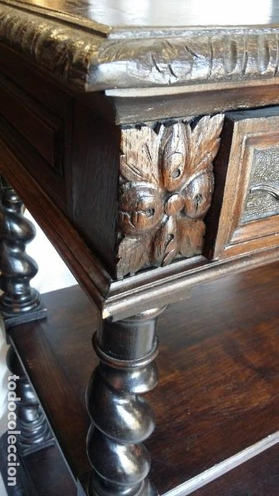 Antigüedades: Soberbia consola en madera tallada y torneada en madera noble - circa siglo XVII - Foto 9 - 198305997