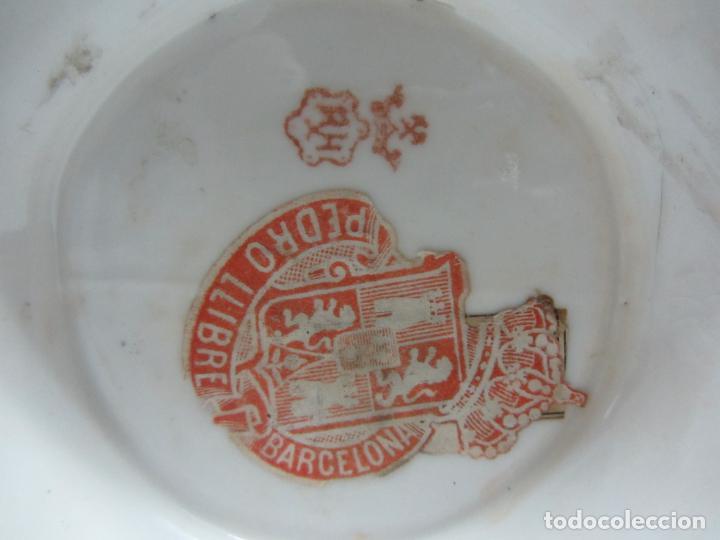 Antigüedades: Cesto de porcelana de principios s.XX marca en base - Foto 6 - 198307740