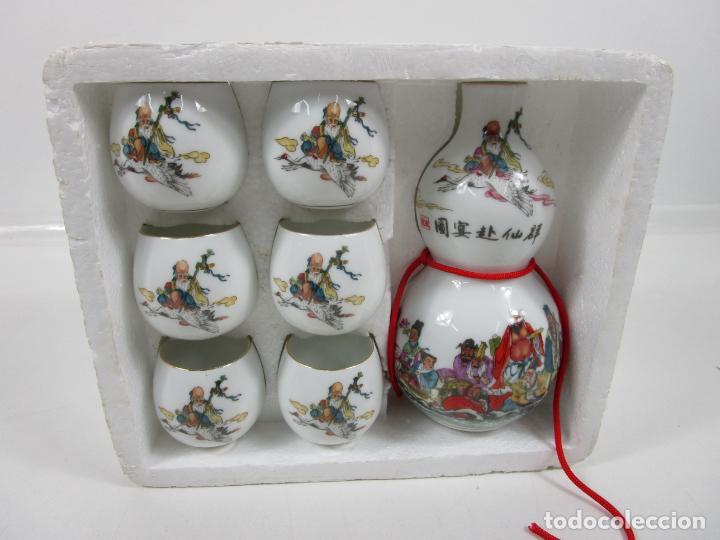 Antigüedades: Juego de Sake - Porcelana Japón - Sello en la Base - con Caja - Años 50 - Nuevo a Estrenar - Foto 13 - 198325930