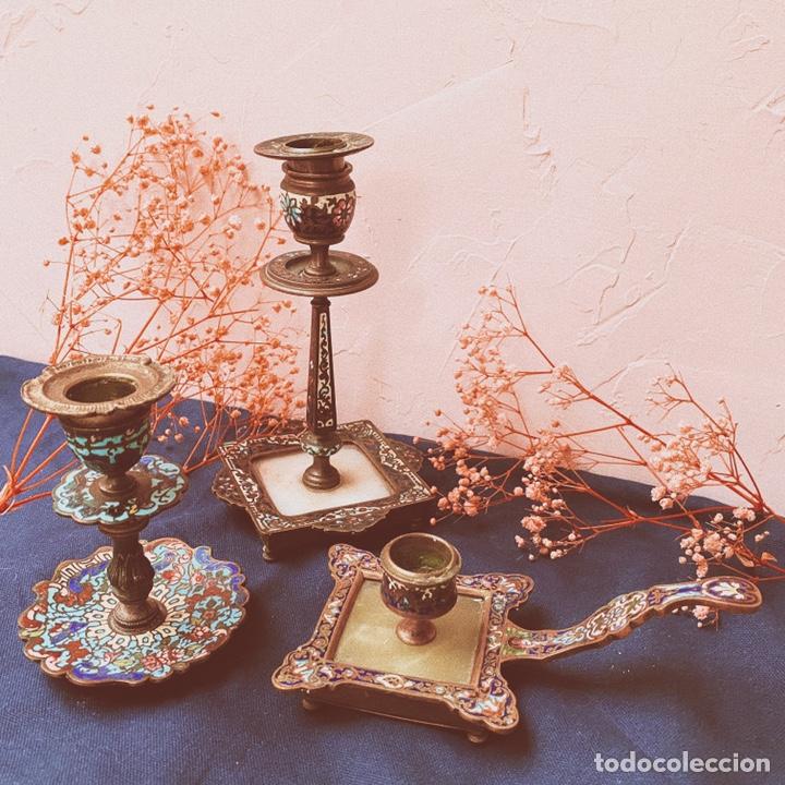 Antigüedades: Precioso Portavelas de Cloisonne Chino Antiguo ANTIQUE UNIQUE - Foto 4 - 148856858