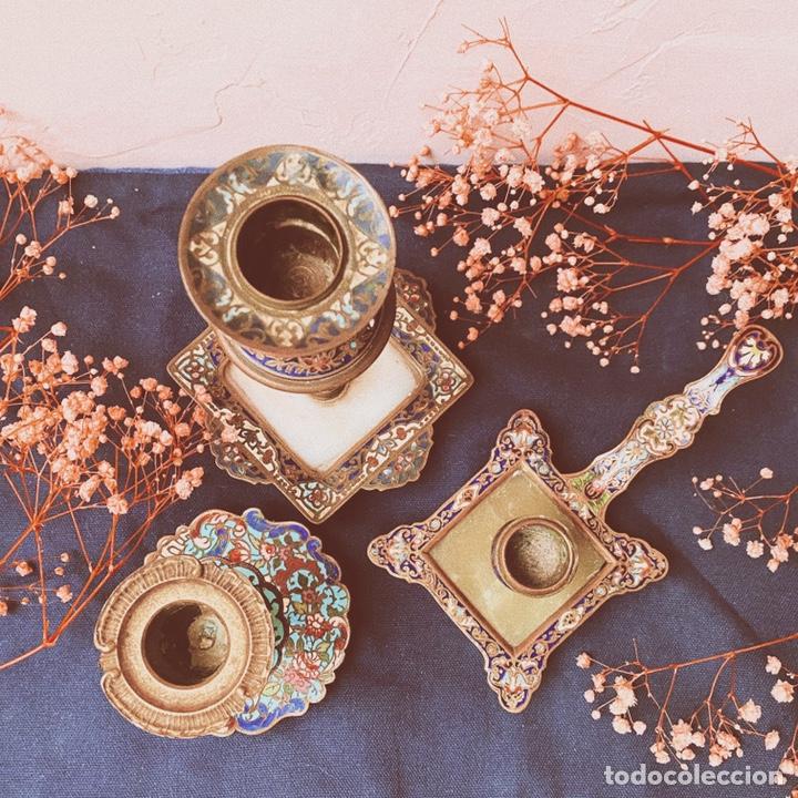 Antigüedades: Precioso Portavelas de Cloisonne Chino Antiguo ANTIQUE UNIQUE - Foto 5 - 148856858