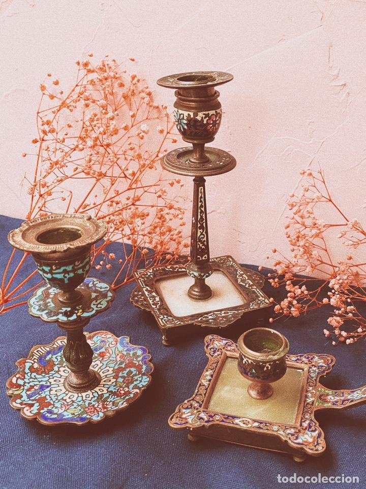 Antigüedades: Precioso Portavelas de Cloisonne Chino Antiguo ANTIQUE UNIQUE - Foto 6 - 148856858