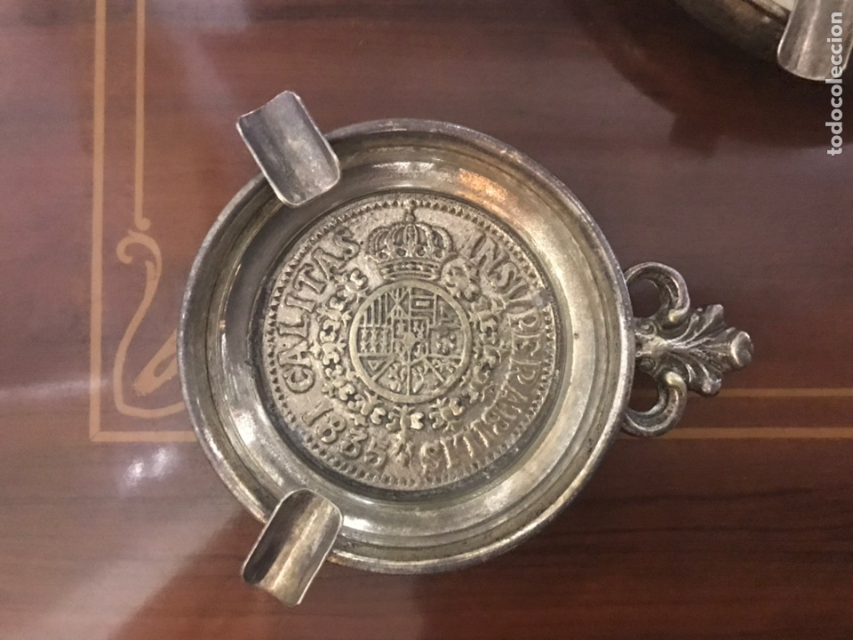 Antigüedades: LOTE DE 2 ceniceros con escudo heráldico - Foto 2 - 198369741