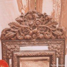 Antigüedades: IMPRESIONANTE ESPEJO ANTIGUO FLORAL LABRADO ANTIQUE UNIQUE. Lote 171684265