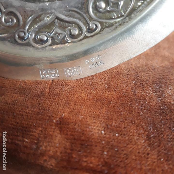 Antigüedades: mate con bombilla en plata de ley con contrastes chile 0,900 plata fina,hecha a mano,326gr - Foto 3 - 198402770